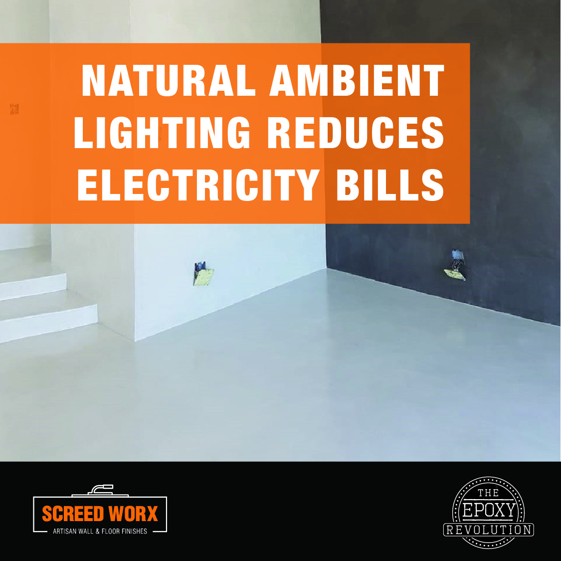 Epoxy flooring natural ambient lighting reduces electricity bills